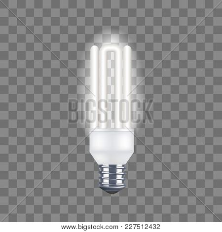 Realistic Detailed Tube Light Bulb On A Transparent Background Saving And Economy Electricity. Vecto