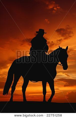cowboy silhouette in sunrise