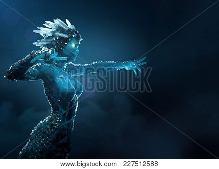 3d Illustration Render Of Stone Girl With Glowing Icy Crystal Crown And Small Crystals On The Body S