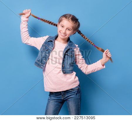 Young teenage girl with french braid