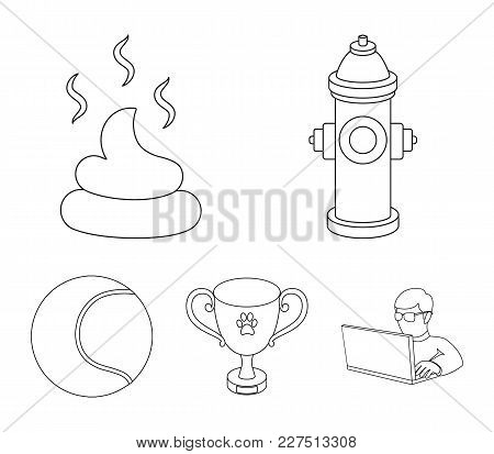 Tennis Ball, Game, Hydrant Fire, Cup, Feces.dog Set Collection Icons In Outline Style Vector Symbol