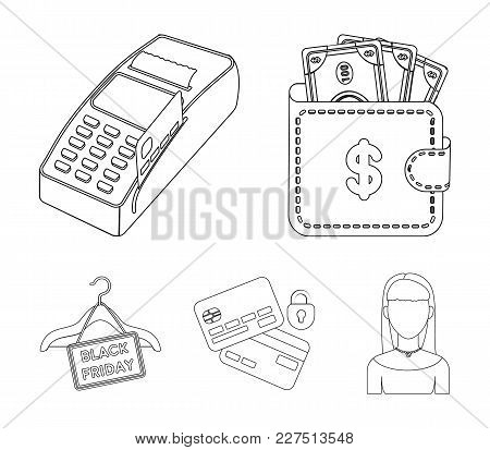 Purse, Money, Touch, Hanger And Other Equipment. E Commerce Set Collection Icons In Outline Style Ve