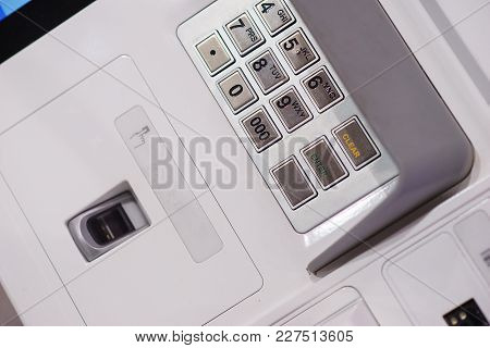 Front Atm Panel With A Keyboard For Entering A Password, A Fingerprint Scanner And A Wireless Connec