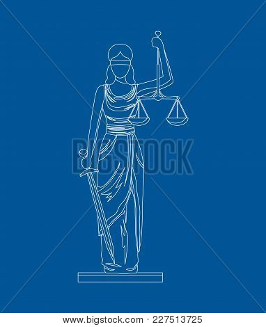 Statue Of Femida With Scales And Sword Thin Line Style Design Symbol Law Web Element. Vector Illustr