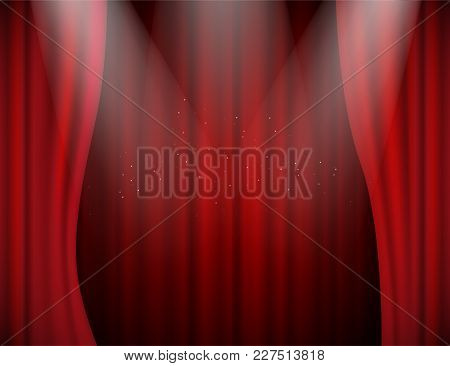 Vector Illuminated Red Velvet Open Curtains In Theatre Or Concert Hall