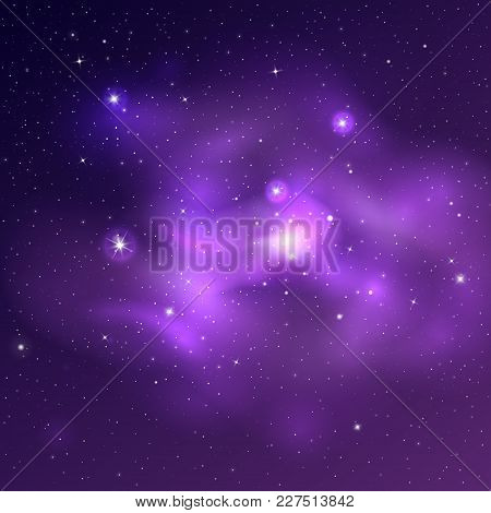 Vector Bright Universe Background With Purple And Blue Nebulas And Shiny Stars