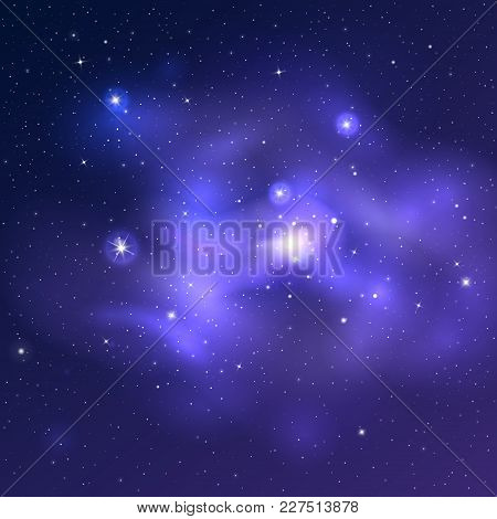 Vector Bright Universe Background With Blue Nebulas And Shiny Stars