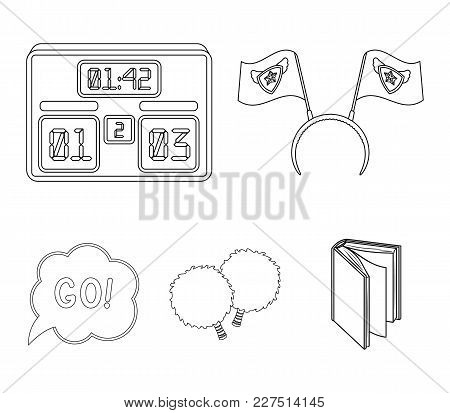 Hoop With Flags And Other Attributes Of The Fans.fans Set Collection Icons In Outline Style Vector S