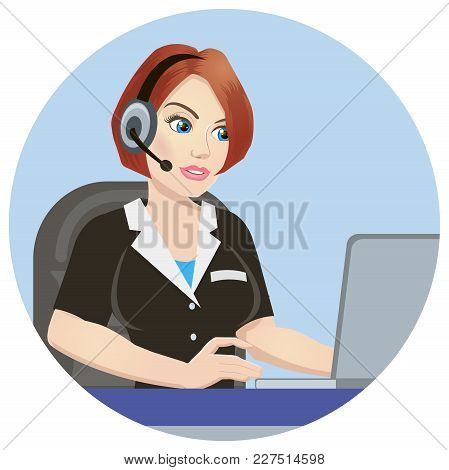 Call Center Operator At Work. Isolated On White Background. Emergency Concept With Medical Helpline