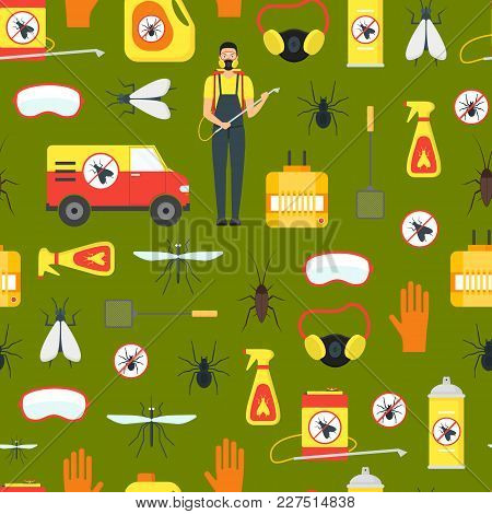 Cartoon Pest Control Service Business Seamless Pattern Background On A Green Equipment And Working S