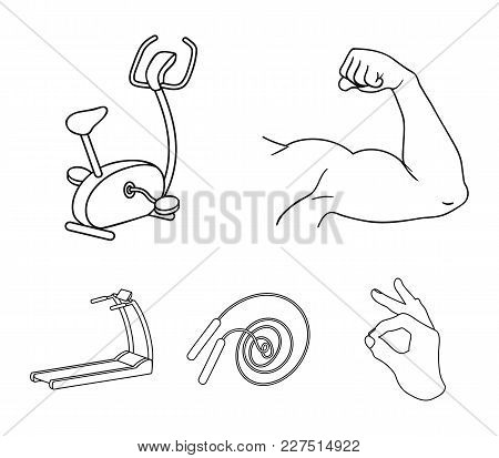 Biceps, Exercise Bike, Skipping Rope, Treadmill, Fitness Set Collection Icons In Outline Style Vecto