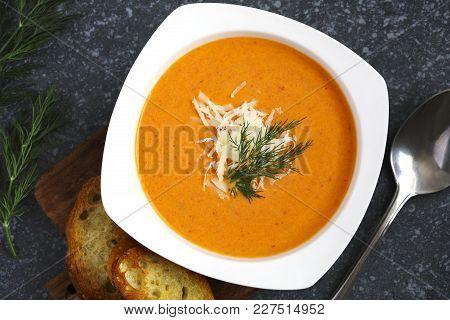Tomato Soup Served In Plate, Top View. Zuppa Di Pomodoro