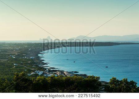 View Of The Island Of Formentera From The Mirador De La Mola, Spain