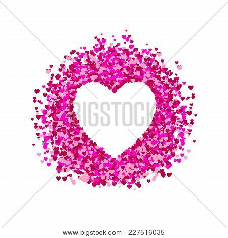 Vector Heart Frame, Heart Shape Confetti, Pile Of Hearts, Romantic Background, Pink And Red Paper He