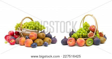 Fresh Fruits Isolated On White Background. Horizontal Photo.