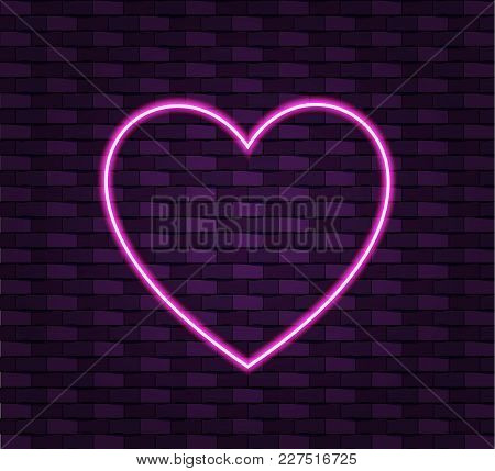 Neon Heart On Brick Wall Background, Shining Vector Frame Template. Wall Dark Background.