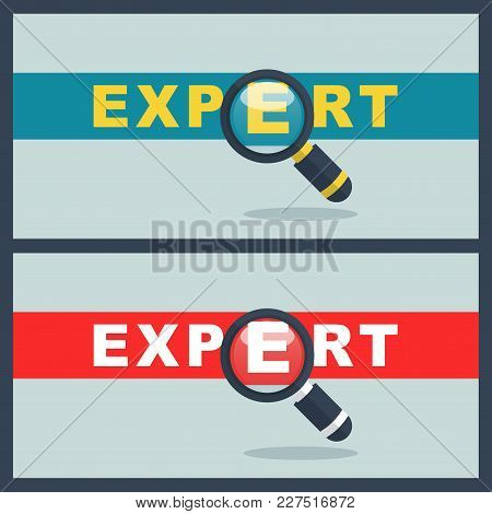 Illustration Of Expert Word With Magnifier Concept