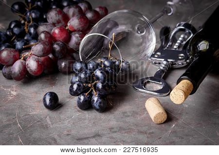 Red Grape Wine Glass Bottle Of Wine View From Above Top View Copy Space