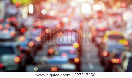Rush Hour With Defocused Cars And Generic Vehicles - Traffic Jam In Los Angeles Downtown - Blurred B