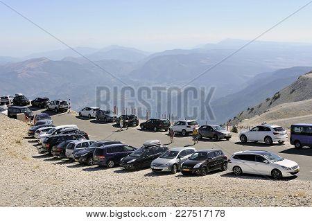 Mont-ventoux, France - September 1, 2016: Parking Cars At The Top Of Mont Ventoux Very Touristic Pla