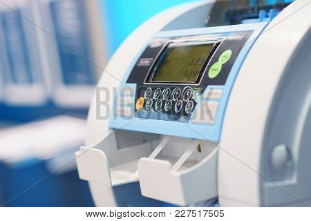 Professional Banking Equipment For Calculating Banknotes And Cash. Special Apparatus, A Device For C