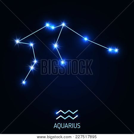 Aquarius Constellation And Zodiac Sing. Vector Illustration.