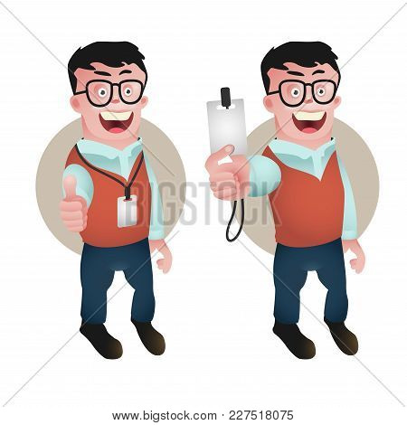 Character Design Of Office Person Showing Employee Id