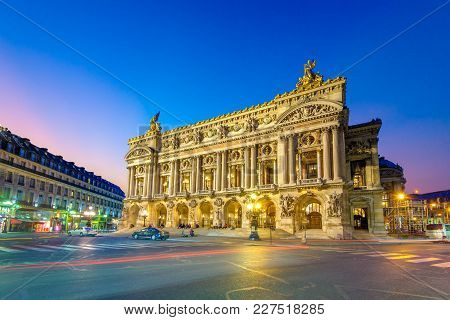 Night View Of The Palais Garnier, Opera In Paris