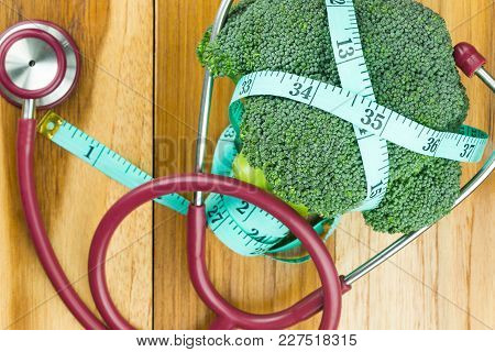 The Concept Of Health Care,broccoli Healthy For Eating Broccoli For Good Health,top View Of Broccoli