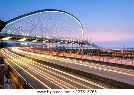 Harp Bridge In Hsinchu Taiwan At Dusk