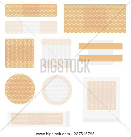 Medical Adhesive Plaster. Set Of Medical Adhesive Plaster. Flat Design, Vector Illustration, Vector.