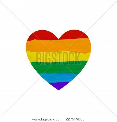 Paint Smears Flag Heart Shape Icon, Rainbow Colored, Vector Illustration, Lgbt Flag. Isolated On Whi