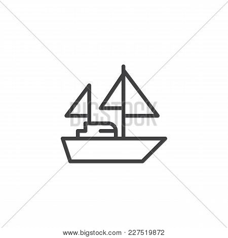 Yacht With Sails Outline Icon. Linear Style Sign For Mobile Concept And Web Design. Sailing Ship Sim