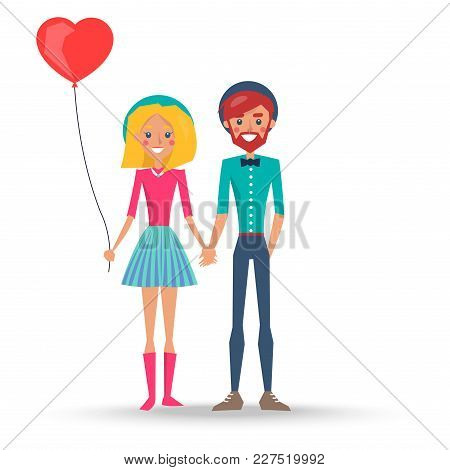 Couple In Love In Hats, Boy And Girl With Heart Shaped Balloon Vector Illustration Isolated On White