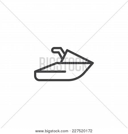 Jet Ski Outline Icon. Linear Style Sign For Mobile Concept And Web Design. Scooter Transport Water S