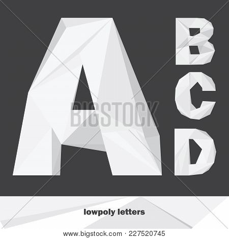 Lowpoly Letters A B C D Isolated On Dark Background. English Alphabet In Shades Of Grey. Vector Illu