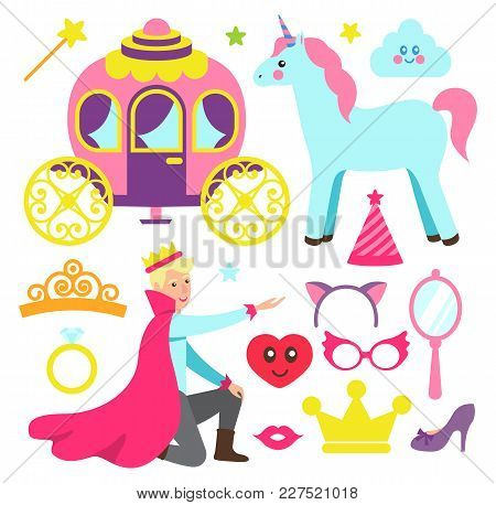Accessories For Princess Party And Fairytale Prince. Funny Unicorn, Magic Carriage, Bright Masks And