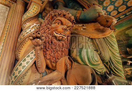 Dikwella, Sri Lanka - Dec 30, 2017: Lion Sculpture And Artworks In 18th Century Temple With Colorful