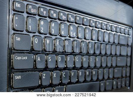 Computer Laptop Close Up, Computer With Macro Keyboard