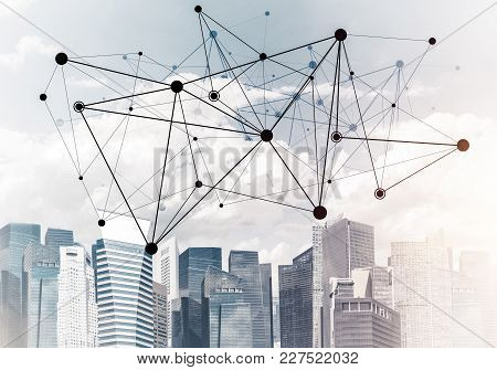 Modern Cityscape With Buildings And Skyscrapers And Social Connection Concept On Screen