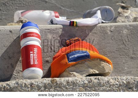Mont-ventoux, France - September 1, 2016: Objects Left By Cyclists On The Tom Simpson Memorial Stone
