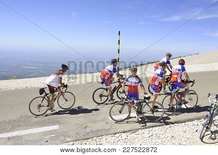 Mont-ventoux, France - September 1, 2016: Group Of Cyclists Go After A Break On The Road To The Summ
