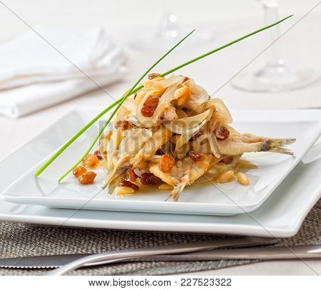 In Venice, Italy, Sarde In Saor Is An Antipasto That Consists Of Sardines Marinated In White Wine, R