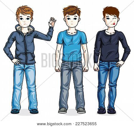 Different Young Teen Boys Cute Children Standing In Stylish Casual Clothes. Vector Set Of Beautiful