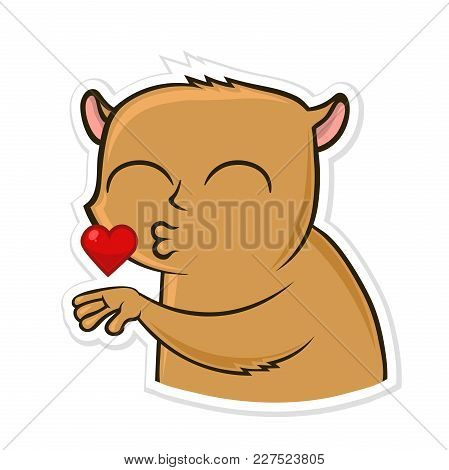 Sticker For Messenger With Funny Animal. Hamster Sending Air Kiss. Vector Illustration, Isolated On