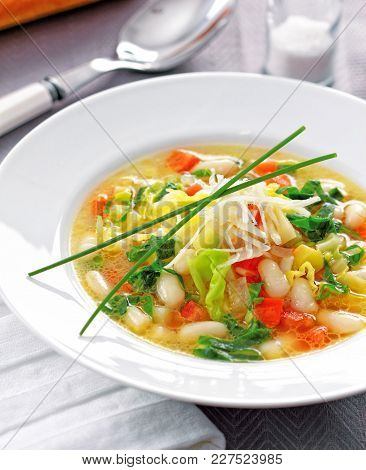 Minestrone Is An Italian Soup Made With Fresh Seasonal Vegetables.