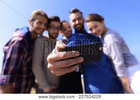 group of students taking a selfie