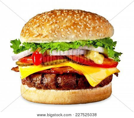 The Perfect Bacon And Cheese Burger, Isolated On White.