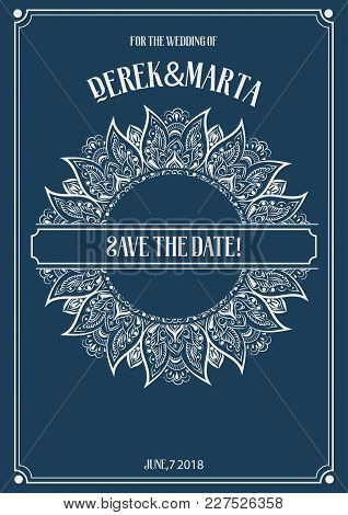 Save The Date. Vector Poster With Phrase Decor Elements. Typography Card, Image With Lettering. Roma
