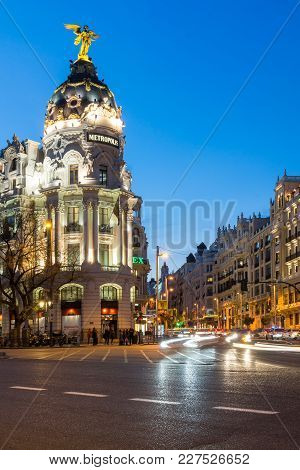 Madrid, Spain - January 23, 2018:  Sunset View Of Gran Via And Metropolis Building In City Of Madrid